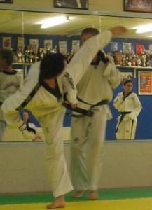 Justin Spin Kicks Opponent at 5th Dan Grading