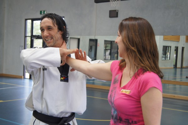 Justin Warren Demonstrates Self Defence On Donna Steward