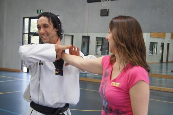 Justin Warren Demonstrates Self Defence On Donna Steward