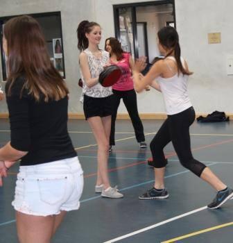 Shakira Marlon practises striking combinations with Jessica Rossiter