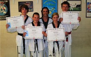 John Crawford, Amelia Dale, Master Justin Warren, Melissa Warren & Kyrill Lloyd after the grading