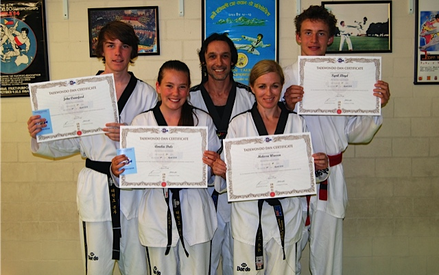 John Crawford, Amelia Dale, Master Justin Warren, Melissa Warren & Kyrill Lloyd after the grading