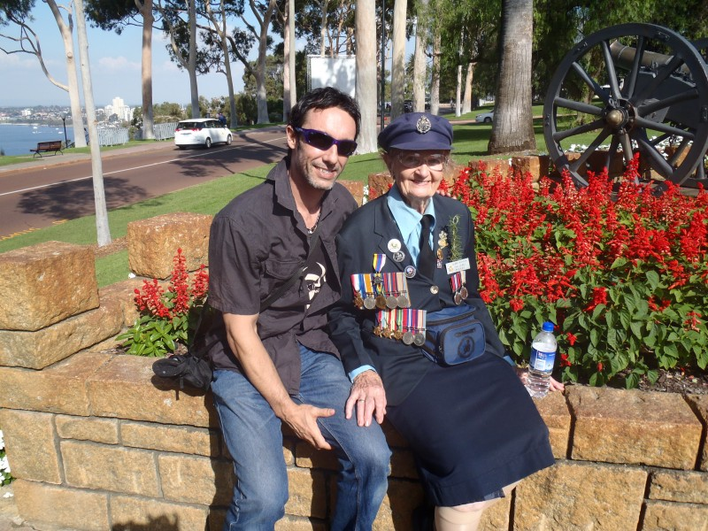 Justin Warren (42) with his Grandmother Leonora (Lenny) Warren (89) WW2 Anzac Veteran (2014)