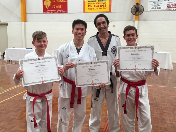 Black Belts. Lachlan Enright (12), Allan Lum (30), Master Justin Warren, Jack Bowkley (15)