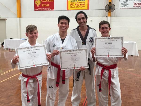 Black Belts. Lachlan Enright (12), Allan Lum (30), Master Justin Warren, Jack Bowkley (15)