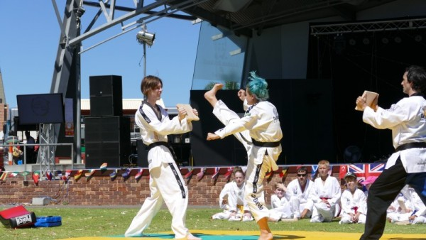 Ajana Plunkett smashes a board during the Multicultural Festival 2016
