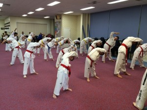 Taekwondo Central Bunbury Junior Class start their last training session before grading 2