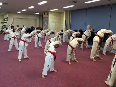 Taekwondo Central Bunbury Junior Class start their last training session before grading 2