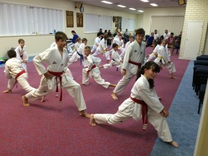 Taekwondo Central Bunbury Junior Class start their last training session before grading
