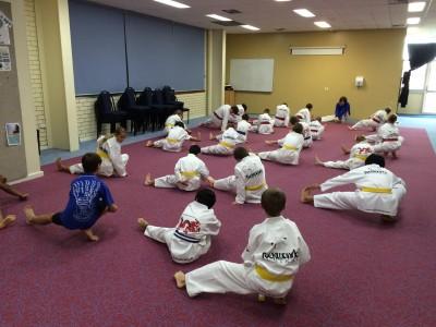 Taekwondo Central Bunbury Junior Class start their last training session before grading 3
