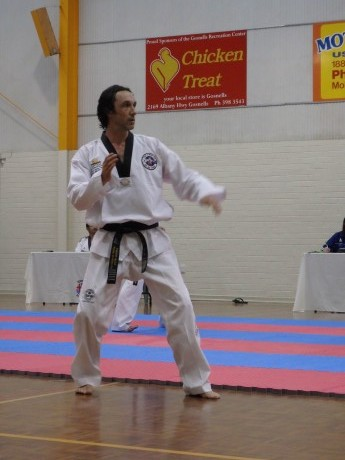 Justin During Sparring For His Grading (No its not a Chicken Treat Add)