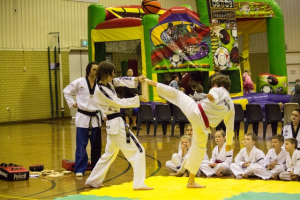 Liam does a spin kick break at Taekwondo Central demo- www.tkdcentral.com