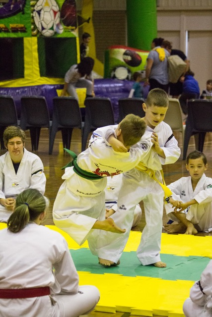 Tyler does a great outer reap on Angus at Taekwondo Central demo - www.tkdcentral.com