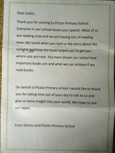 Thank you letter - Picton Primary Book Week Talk - www.tkdcentral.com