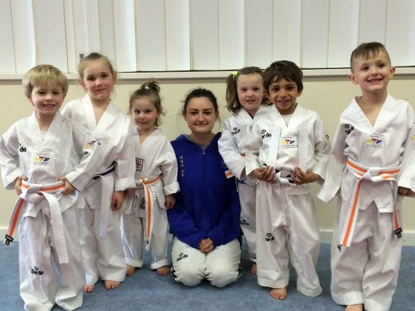 Flynn, Caitlyn, Amy Instructor Ajana Plunkett, Maely, Colin & Hamish All Pass their Belts