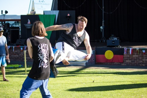 David Browne plays around with flying kicks after the demo