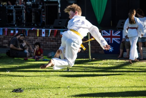 Dylan practises a Step up jump back kick