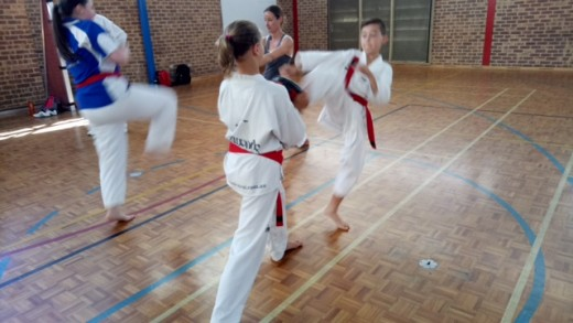 Board Breaking Seminar - Kaiden Guiver Practises Push Front Kick with Ariana Lloyd - www.tkdcentral.com