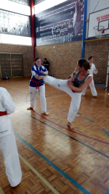 Board Breaking Seminar - Kelly Platts practises side kick board break with Rebecca Collis