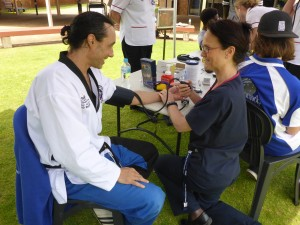 Master Justin Warren is health checked by Nurse Mel Buhlman