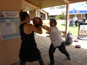 Practising Strikes To Stop - Nurses Learning Self Protection Skills - ECU Wellness Day - www.tkdcentral.com