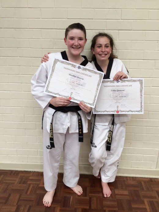 Brooklyn Jauncey & Tahlia Gowland after Passing 2nd Dan Black Belt - www.tkdcentral.com