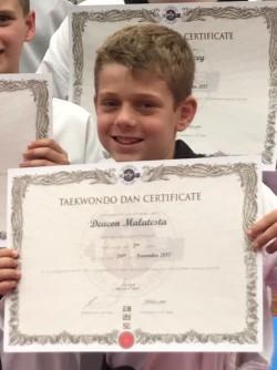 Deacon Malatesta with his Ohdokwan Black Belt Certificate - www.tkdcentral.com