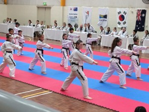 Maddison Booth, Mollie Swarbrick, Tahlia Gowland & Brooklyn Jauncey Doing Patterns during Black Belt Grading - www.tkdcentral.com