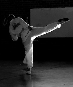 Kristy Hitchens performs a turning kick - www.tkdcentral.com