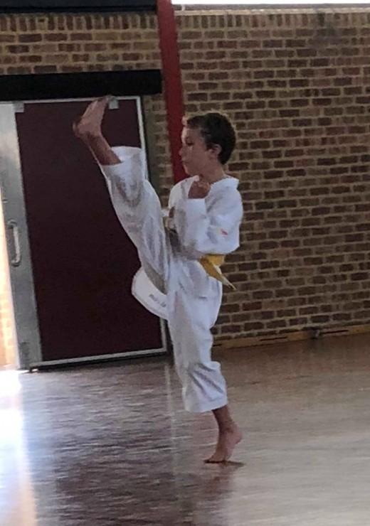 Deegan Mcdonald shows Axe Kick during his 2018 SHP grading