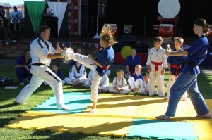 Rebecca Buhlmann smashes her board - www.tkdcentral.com