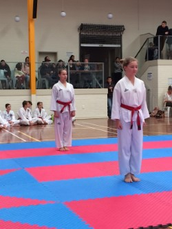 Ariana Lloyd and Rebecca Buhlman ready to test for their Black Belt
