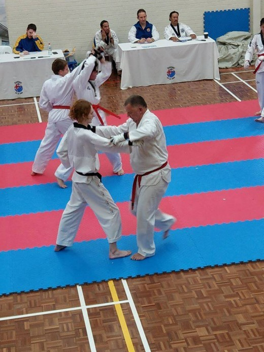 Gary Veljacich takes his opponent down at his Black Belt Grading