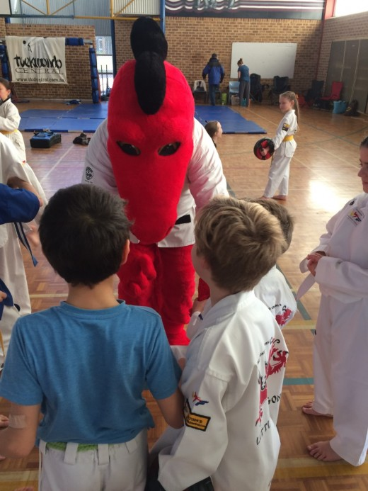 Donny The Dragon mixes in with the kids at the 2018 Challenge Day - www.tkdcentral.com