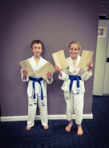 Deagan McDonald & Narelle Pollard after the Grading Board Break - www.tkdcentral.com