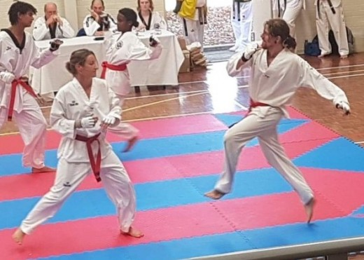 Kelly Rowe & Luke Crane Spar During The Nov 2018 Black Belt Grading