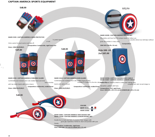 Marvel - Daedo Taekwondo Safety Gear - Captain America - Prices